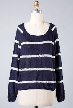 Navy Distressed Stripe Knit Sweater