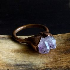 Rough Amethyst Ring Copper Gemstone Ring Size by MidwestAlchemy