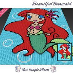 Beautiful Mermaid c2c graph crochet pattern by TwoMagicPixels