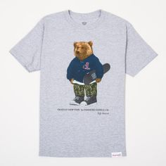Diamond Supply Co 'Grizlzy Bear' - HeatherBottom left woven label. Printed neck label. 100% cotton. Printed in the USA.