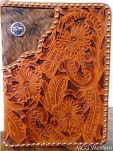 WESTERN KNEELING COWBOY HAND TOOLED LEATHER BIBLE COVER - ZIPPERED