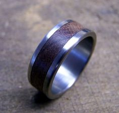 Titanium and Black Walnut Inlay Ring. $145.00, via Etsy.