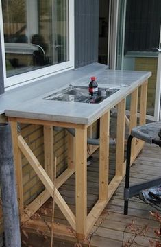 Diy Terrasse, Diy Patio, Outdoor Cooking, Outdoor Furniture, Outdoor Decor, Outdoor Living, Living Spaces, Pergola, House Design