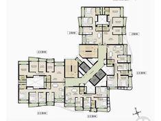 núcleo en esquina Building Layout, Building Plans, Building Design, Condominium Architecture, Architecture Plan, Hotel Floor Plan, House Floor Plans, Hospital Floor Plan, Residential Building Plan