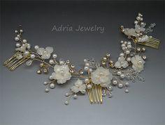 Casco de la boda de oro pinzas de pelo nupcial por adriajewelry