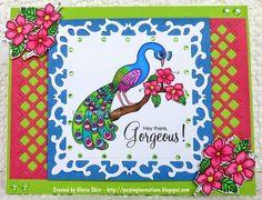 Purpleglo Creations: Gorgeous Peacock Card Using Imagine That Digis By Kris - Pretty Peacocks. http://purpleglocreations.blogspot.com/2015/03/gorgeous-peacock-card-using-imagine.html