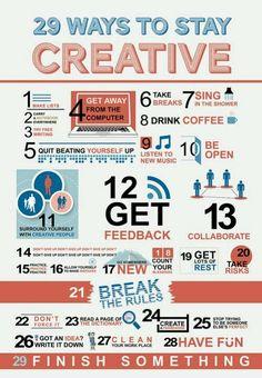 29 Ways to Stay Creative [Infographic] web design, website design, creative, inspiration E-mail Design, Crea Design, Graphic Design, Creative Design, Design Logos, Chart Design, Design Ideas, Interior Design, Inbound Marketing
