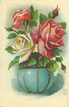 Gratulasjonskort med roser Erling Nielsen brukt 1940-tallet Norsk arbeide
