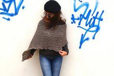 Grey knit poncho,alpaca  poncho sweater, knitted grey wrap, trend knitwear, wool poncho, alpaca poncho, wool grey wrap, gray trend.