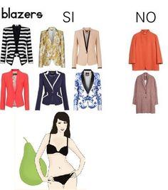 Blazers, chaquetas o sacos ideales para la mujer tipo pera son aquellos bien estructurados y entallados.  De preferencia de un solo botón a la altura de la cintura. Tomado de http://blogs.gestion.pe/divinaejecutiva/2013/03/vistiendo-mi-cuerpo-parte-1.html