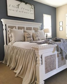 Cool 88 Romantic Rustic Farmhouse Master Bedroom Decoration Ideas. More at http://www.88homedecor.com/2017/12/29/88-romantic-rustic-farmhouse-master-bedroom-decoration-ideas/