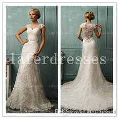 Wholesale Sheath Wedding Dresses - Buy Amazing 2014 V Neck Sheer Back Sheath Chapel Train Lace Wedding Dresses with Cap Sleeve Appliques Vintage Beach Bridal Dress Gowns 1225, $198.0 | DHgate