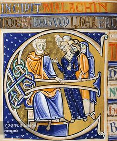 David in old age, miniature from the Bible of Souvigny, Latin manuscript 1 folio 112 verso, 12th Century.