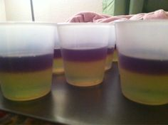 The Lambda Chi Alpha Shot... created by an Alpha Chi Omega at Elon University, NC ★★★ RECIPE:   Jello brand flavored jello with various alcohol in the following order:  1. Melon fusion with Smirnoff Watermelon vodka  2. Pineapple with 90 proof Parrot Bay coconut rum  3. Grape with 99 Grapes 99 proof schnapps  ★Pour and refrigerate each layer separately★