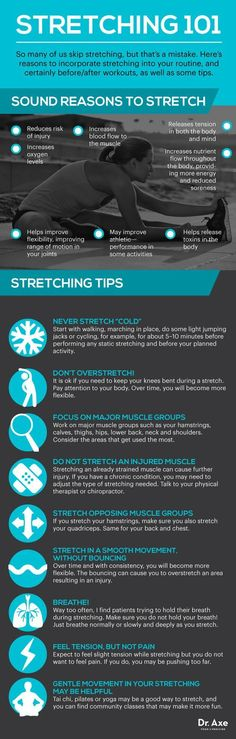 Stretching 101 - the safest ways to stretch. Make sure not to injure yourself  You can also workout at home after stretching!  http://www.jorgewellness.com/free-10-minute-workout-guide/