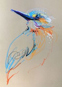 Animalines - Kingfisher • original lines drawing by Tilen Ti
