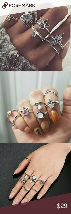8 Piece Antique Bohemian Midi Ring Set Latest bohemian midi antique silver ring set as seen in vogue. Jewelry Rings