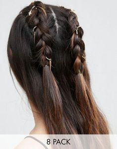 ASOS - Lot de 8 anneaux à cheveux avec croix et pointes