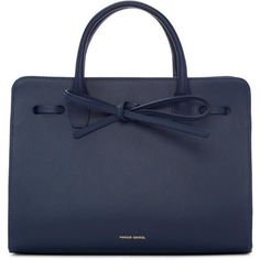 Mansur Gavriel Navy Leather Mini Sun Tote ($980) ❤ liked on Polyvore featuring bags, handbags, tote bags, navy, leather handbags, handbags totes, mini tote, leather purses and navy tote bag
