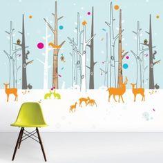 Woodland Friends WallScene ijsblauw van Funky Little Darlings