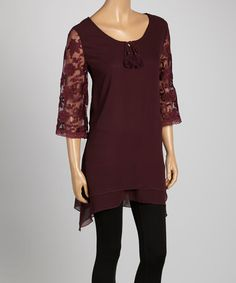 This Maroon Lace-Sleeve Tunic is perfect! #zulilyfinds