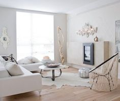 All white living room Glam Living Room, Living Room White, Small Living Rooms, Living Room Designs, Living Spaces, Modern Contemporary Living Room, Mid Century Modern Living Room, White Sectional, Small Space Solutions