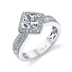 Venetti 14k White Gold Princess Halo Engagement Ring