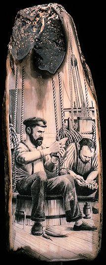 Robert Weiss Scrimshaw   Scrimshaw by Robert Weiss. The Scrimshanders - detail.