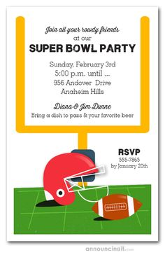A red helmet sits on the field next to a football with the uprights in the background. Perfect invitations for your Super Bowl party, tailgating invitations and more. Tailgating, Super Bowl, Football Helmets, Party Invitations, Red, Collection