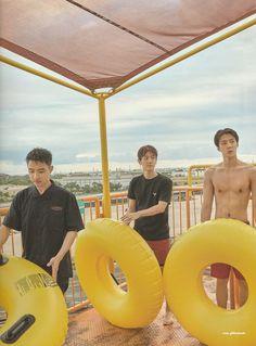 D.O, Baekhyun, Sehun - 190911 Fourth official photobook 'PRESENT ; the moment' Kaisoo, Chanbaek, Exo Ot12, Young K, Xiuchen, Baekhyun Chanyeol, Exo Kai, Kpop Exo, Exo Members
