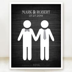 Groom Loves Groom - Gay Custom Wedding Name Date Print - Personalized Wedding Gift - Engagement Present - Unframed