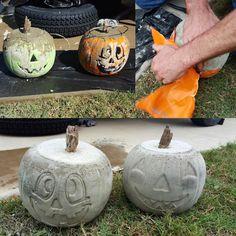 Pour concrete in Halloween pumpkin bucket! Halloween Pumpkins, Fall Halloween, Halloween Crafts, Halloween Decorations, Autumn Decorations, Garden Decorations, Halloween Party, Halloween Garage Door, Halloween Outside
