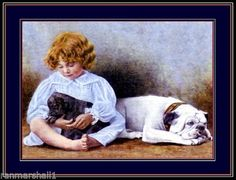 English Picture Print Pet Bulldog Bull Dog & Child Art