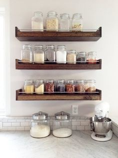 3 Valuable Clever Ideas: Floating Shelves Modern Joanna Gaines how to make a floating shelf house.Floating Shelf Under Tv Picture Ledge rustic floating shelves bathroom. Industrial Floating Shelves, Floating Shelves Bedroom, Reclaimed Wood Shelves, Floating Shelves Kitchen, Kitchen Shelves, Kitchen Storage, Glass Shelves, Open Shelves, Industrial Shelving