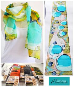 Silk scarf, Handmade, unique, silk accessories, gift idea, Beautiful modern scarf, gift for her, 100% silk