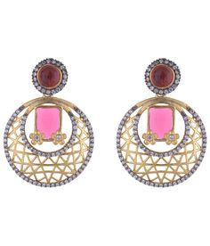 Buy The Jewelbox Designer Gold Plated Inlay Red Stone American Diamond