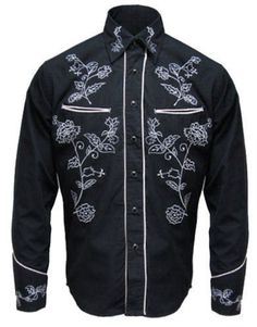 3d03a272 Mens Line Dancing Cowboy Western Rockabilly Embroidered Floral Shirt Retro  Vtg