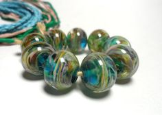 Lampwork. Glass bead handmade. Beads turquoise by Glasskaramelka