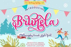 BRUNELA is a brush font with calligraphy style, so that we can write beautifully to beautify your typography design, with the concept of handwriting, have a All Fonts, Handwritten Fonts, Calligraphy Fonts, Script Fonts, Lettering, Typography Quotes, Typography Design, Brush Script, Premium Fonts