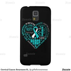 Cervical Cancer Awareness Heart Words Galaxy S5 Cover