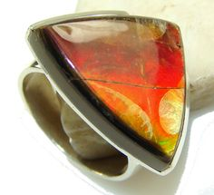 $117.31 Sunset Glow!! Ammolite Sterling Silver ring s. 7 at www.SilverRushStyle.com #ring #handmade #jewelry #silver #ammolite