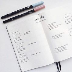 And this totally chill event tracker. 3 months to a page leaves lots of room for tracking. (bullet journal)