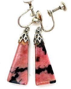 Pink Rhodonite Earrings Silver Dangle Art Deco