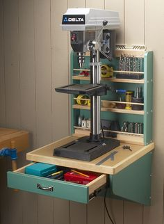 Wall-Mounted Drill Press Shelf & Woodworking Project & Woodsmith Plans Wall-Mounted Drill Press Shelf & Woodworking Project & Woodsmith Plans Source by studiocdesigns The post Wall-Mounted Drill Press Shelf