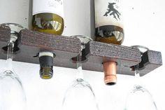Botellero rústico y titular de la Copa de vino botella de