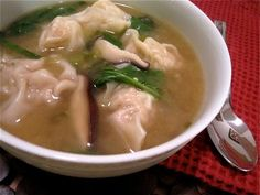 Recipe: Homemade pork wonton soup with Shiitake mushrooms. Step-by-step photos make it easy!