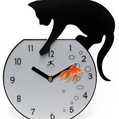 Infinity Instruments offers this Fisher Wall clock. This decorative kitchen wall clock has a silhouette metal and glass cat. 'Purr'fectly for the great animal lover.      $39.08
