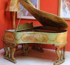 Brambach Baby Grand Piano Antique Custom Painted French Country Renaissance