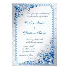Navy Blue  Wedding Invitation on styled silver