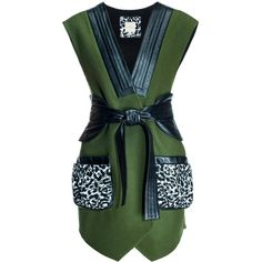 Leka - Leopard Pockets Leather & Wool Vest (13 740 UAH) ❤ liked on Polyvore featuring outerwear, vests, woolen vest, vest waistcoat, green waistcoat, green wool vest and green vest